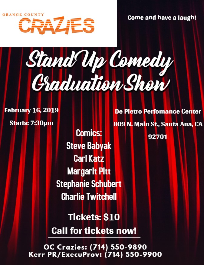 stand up comedy graduation show flyer